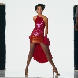 Famke Jenssen in Carolyne Rohem sequined halter minidress Vogue Feb 1988 Wayne Maser