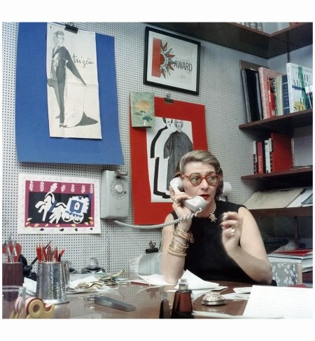 Fashion designer Pauline Trigere in her studio, photo by Ormond Gigli, New York, 1962