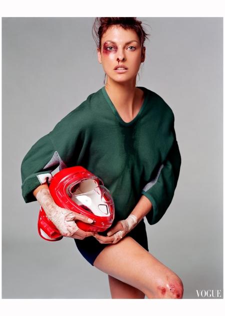 """Linda Evangelista """"Sporting Linda"""" Vogue it Feb 2003 Steven Meisel b"""