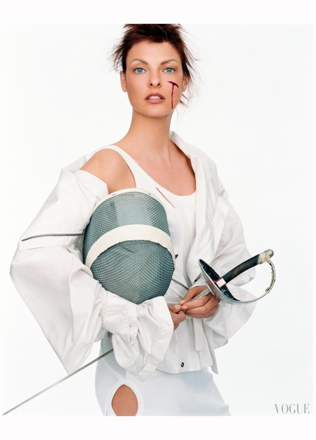 "Linda Evangelista ""Sporting Linda"" Vogue it Feb 2003 Steven Meisel e"