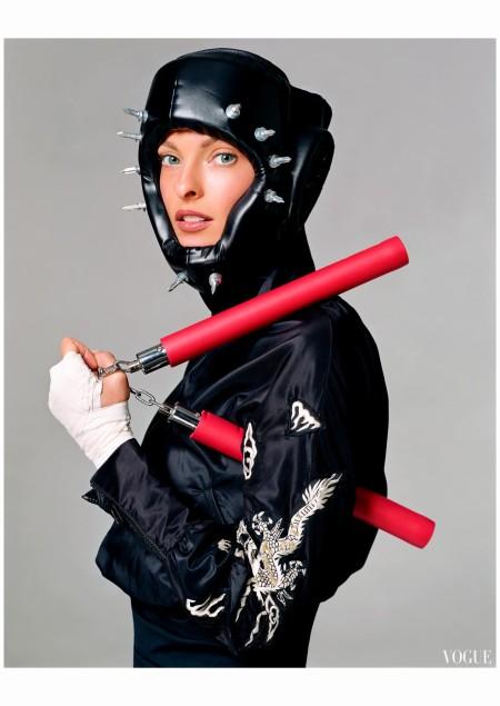 """Linda Evangelista """"Sporting Linda"""" Vogue it Feb 2003 Steven Meisel"""