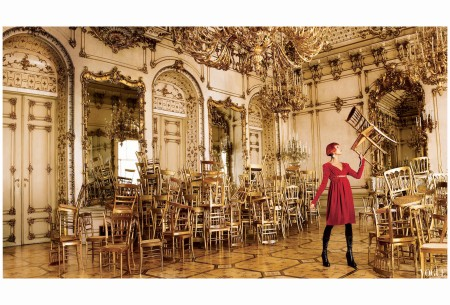 Mario Testino, Vogue, September 2006; Natalia Vodianova At the Palais Pallavicini in Vienna