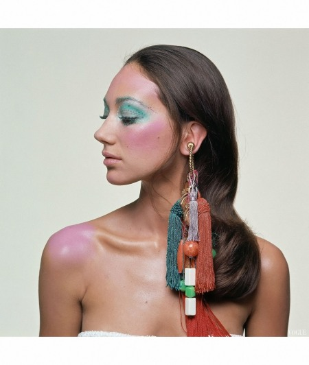 Marisa Berenson Wearing Heavy Tassel Earring tasseled earring Giorgio di Sant'Angelo Vogue 1967 Bert Stern