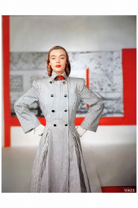 Model in double-breasted coat by Connie Adams, 1946 Horst P.Horst