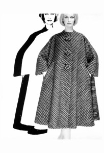 Model in Pauline Trigere's %22Caliph Coat%22, for Dayton's Oval Room, Minneapolis, Minnesota, 1960 Erwin Blumenfeld