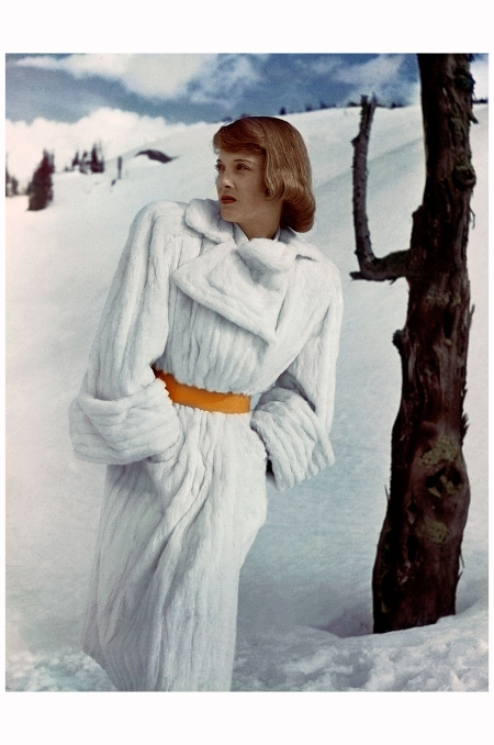 Model in White Ermine Trench Coat in Snow 1946 Serge Balkin