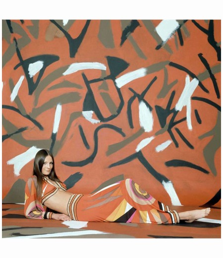 Model Viviane Fauny Outfit by Pucci 1970 Reposed On A Red, Brown And White Photo Franco Rubartelli