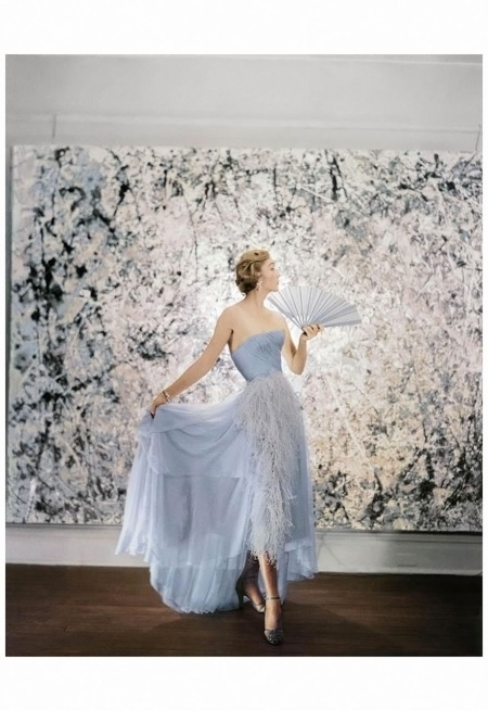 Model Wearing A Pale Blue Ball Gown Backdrop art work by Jackson Pollock's Abstractions NYC 1951 Cecil Beaton
