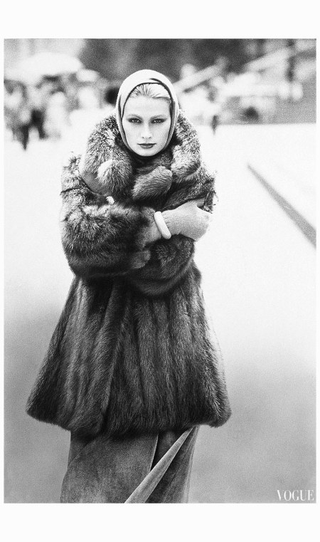 Model Wearing Fur Coat by Christian Dior 1975 Mike Reinhardt
