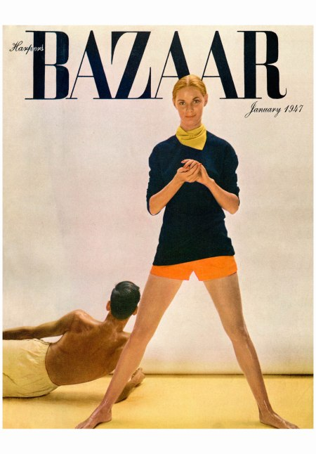 Richard Avedon's first Harper's Bazaar cover, featuring Ford model Natálie Nickerson, January 1947