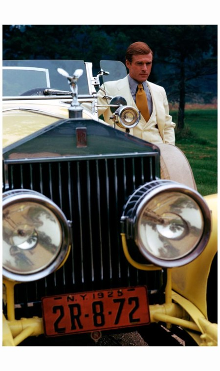 Robert Redford as Jay Gatsby and the infamous yellow Rolls Royce, December 1973 photo Duane Michals