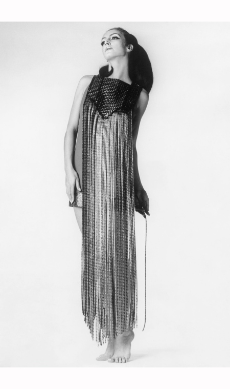 Dress with decorative long metal laces by Paco Rabanne 1970  ullstein bild