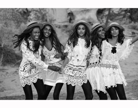 Kai Newman Leila Nida and Tami Williams Peter Lindbergh, Malaika Firth Imaan Hammam Aya Jones Vogue, March 2015