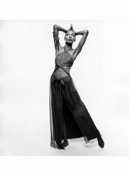Kellie Wilson stands wearing a Patou brown chiffon dress and jewelry; Hair by Carita Vogue 1969 Bert Stern