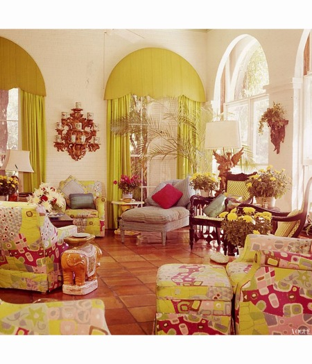 Palm Beach Lily Pulitzer living Room Vogue jan 1975 Horst P.Horst