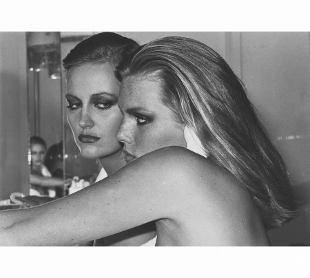 Patti Hansen and Winnie Hollman for Xavier Coiffures, New York,1976 © Helmut Newton