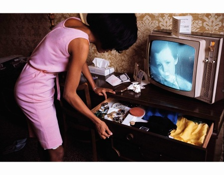 USA. New York City. 1965. Diana ROSS in a hotel room at the Apollo.