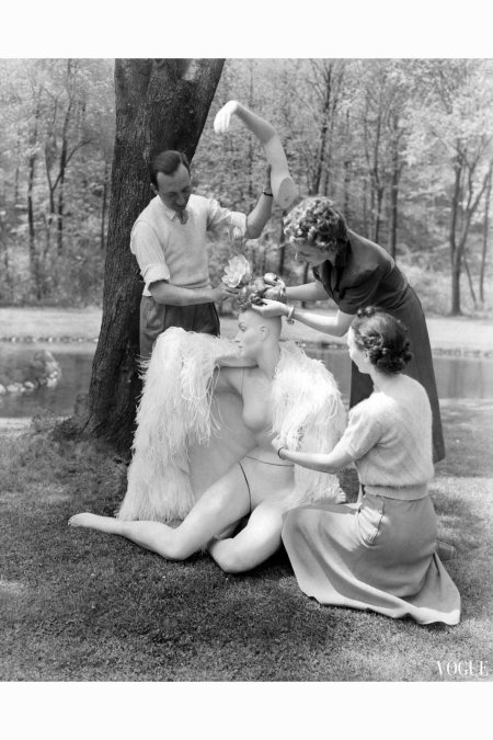 André Durst Assembling a Mannequin in the Woods Vogue - June 1941