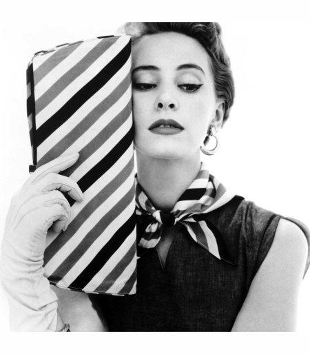 Barbara Miura with madame crystal handbag and neck tie 1953 © John French