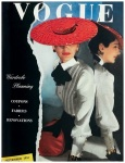 Betty McLauchen wearing red cellophane-straw hat, high-collar white blouse with black bow at neck from Henri Bendel april 1943 cover