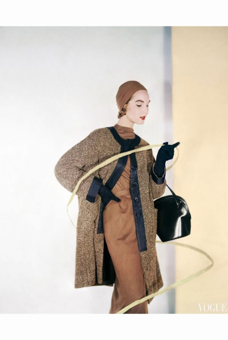 Cherry Nelms Wearing a Black Grosgrain Tweed Three-Quarter Coat sept 1953