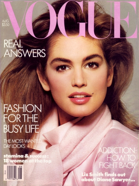 Cindy Crawford for Vogue, August 1986 First cover © Richard Avedon