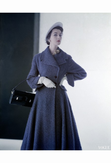 Dovima Wearing Sky Blue Spring Coat in Mixture of Wool and Rabbit'S-Hair and Hat of Panama Straw feb 1947