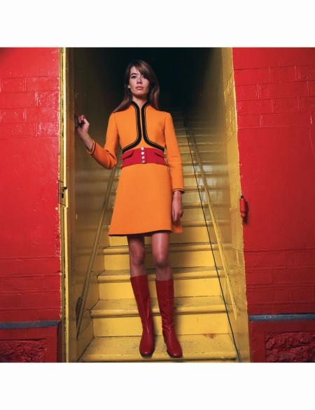 Françoise Hardy, fashion by Louis Féraud, 1970