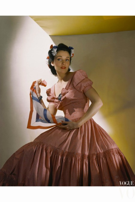 Kay Herman Wearing Red-And-White Gingham Evening Gown May 1940 © Horst .P Horst