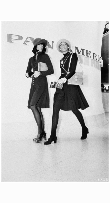 kourken-pakchanian-models-walking-in-front-of-a-pan-american-airlines-sign-at-left-wearing-a-wool-jersey-knit-wrap-dress-by-rodriguez-and-at-right-wearing-a-knit-dress-with-piping-an