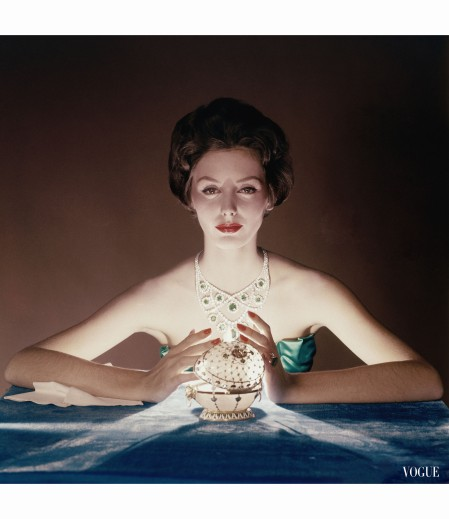 Lucinda Hollingsworth with Faberge Egg, Vogue, Dec. 1958 © John Rawlings