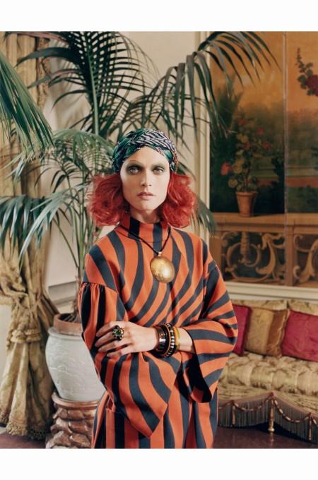 Malgosia Bela %22Testa Rossa%22 Dries Van Noten dress Venetian Princess - W Magazine August 2014  © Venetia Scott