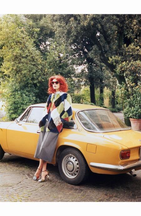 Malgosia Bela %22Testa Rossa%22 Valentino Coat  W Magazine August 2014 © Photo Venetia Scott