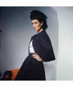 Model in black wool ottoman Scaasi jacket