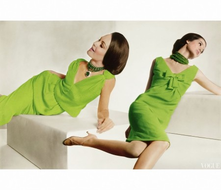 Model in Green Malcolm Starr Dress with Shoulder Sashes and Model in Green Oleg Cassini Dress February 1964