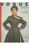 Model Jean Patchett wearing a tweed winter coat from the Paris Collections Vogue Sept 1951 © Horst P.Horst cover