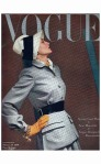Model Wearing Belted Fitted Gray Suit February 1946 cover