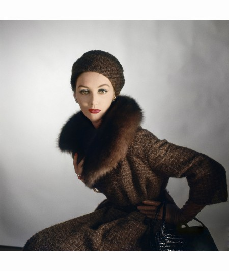Model Wearing Dark Tweed Beret and Matching Coat with Russian Sable Collar 1959