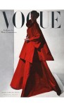Model wearing red cloak dress with ornate neck pin nov 1946 cover