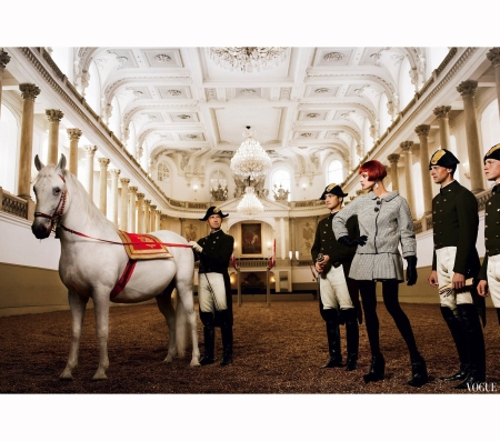 Natalia Vodianova at the Spanish Riding School in Vienna