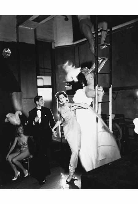 Suzy Parker and Robin Tattersall, evening dress by Griffe, Folies-Bergère, Paris, August 1957 - © Richard Avedon