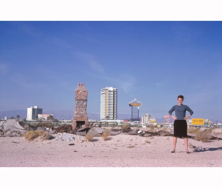 The Strip seen from the desert, with Denise Scott Brown in the foreground, 1966