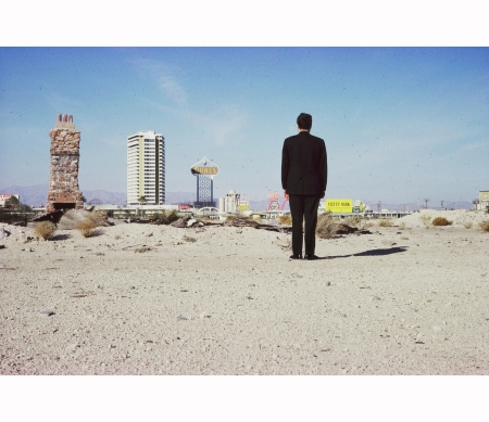 The Strip seen from the desert, with Robert Venturi  silhouette, Las Vegas, 1966