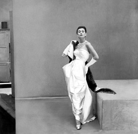 Anne Gunning in white satin strapless gown with mink lined satin stole by Lucille Manguin 1951 © Henry Clarke full