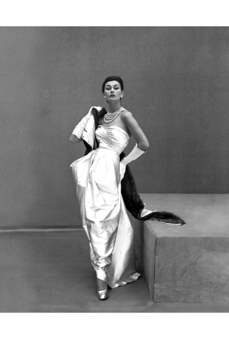 Anne Gunning in white satin strapless gown with mink lined satin stole by Lucille Manguin 1951 © Henry Clarke