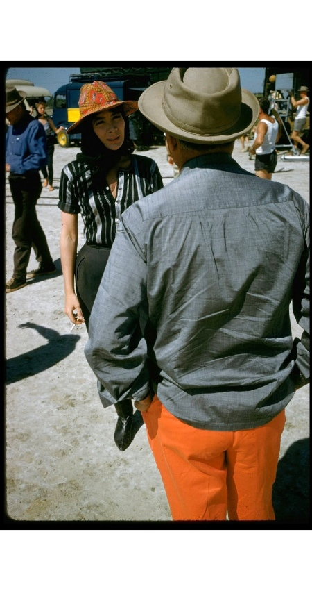 Director Darryl F. Zanuck w. actress Juliette Greco on location during filming of motion picture %22The Big Gamble.%22 1960 © Gjon Mili b