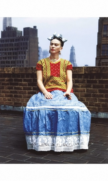 Frida Kahlo traditional attire particularly emphasized her Mexican heritage in New York, circa 1946. Photo by Nickolas Muray