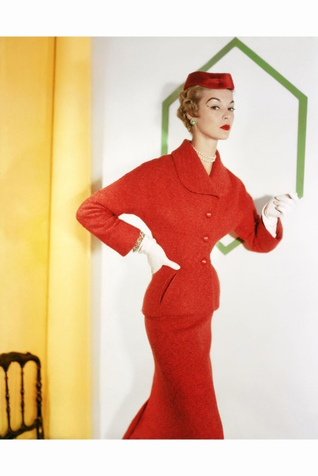 Jean Patchett Wearing a Orange Tweed (A Lesur Fabric) Suit  Christian Dior sept 1953
