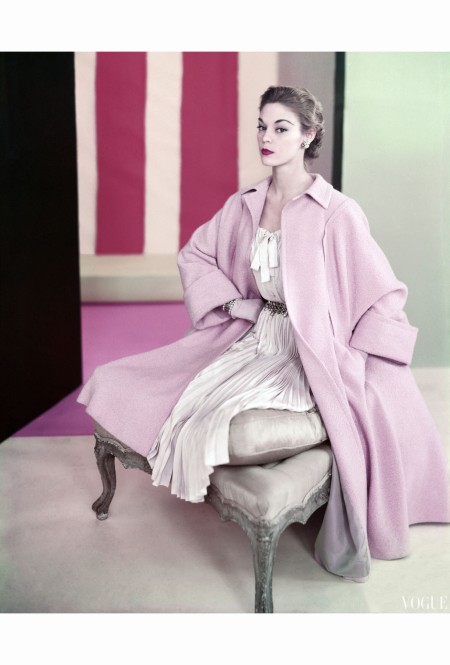 Jean Patchett Wearing Pale Pink Poodle Coat over Dress of Pleated Silk Shantung  Jan 1952 © Horst P.Horst