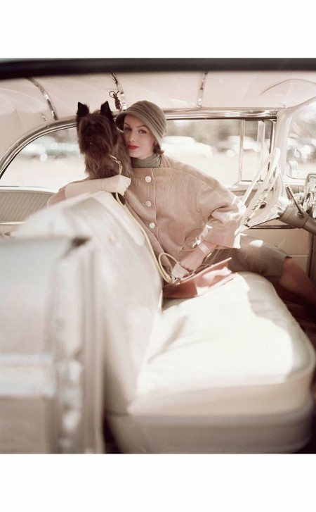 Model Posed with dog in the front seat of a car, model wearing hollow cut velveteen jacket in beige, with grey flannel skirt and matching hat. By Marquise © Karen Radkai